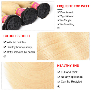 1B/613 Blonde Straight Human Hair 4Bundles Virgin Hair High Quality