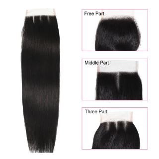 7A Human Straight Hair 3 Bundles With 4x4 Lace Closure Frontal Straight Closure