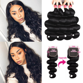 Body Wave Hair Weave 4 Bundles With Closure 6x6 Body Wave Bundles With Lace Closure Human Hair Virgin Hair Extension