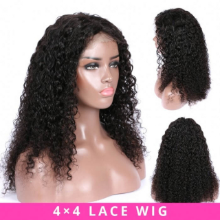 Cheap Kinky Curly 4x4 Closure Lace Wig Afro Kinky Curly Human Hair Wig