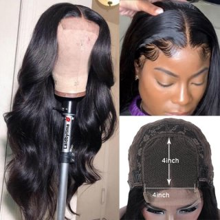 Body Wave Pre Plucked 4x4 Human Hair Lace Closure Wig With Baby Hair On Sale