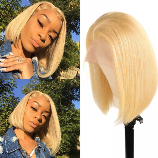 Color 613 Blonde Straight Human Hair Bob Wig 13x6 Lace Frontal Lace Wigs Natural Hairline