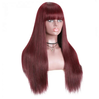 Burgundy Straight Human Hair Wigs with Bangs Glueless Machine Made Wigs for Women