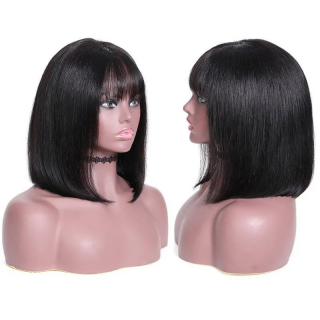 Short Straight Bob Lace Front Wigs With Bangs 100% Human Hair Wig Pre Plucked Natural Hairline