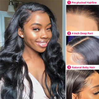 Body Wave Silk Base 13x4 Lace Front Wig 100% Human Hair Wig With Baby Hair