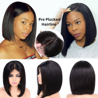 Short Straight Full Lace Bob Wig With Baby Hair 100% Human Hair Wigs Without Bangs