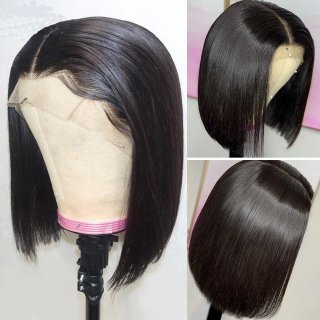 Short Straight Bob Lace Frontal Wig With Baby Hair 100% Human Hair Bob Wig Without Bangs Pre Plucked Bleached Knots