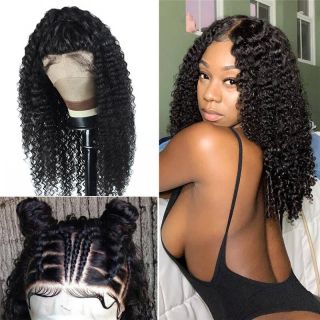 Cheap Deep Curly Hair 4x4 Lace Front Closure Wig Natural Color Natural Hairline For Sale