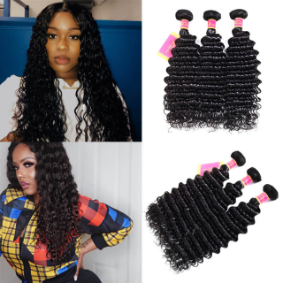 WorldNewHair 7A 3pcs/pack Indian Deep Wave Human Hair Weaves
