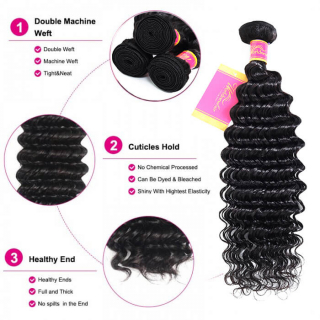 100% Malaysian Human Hair Deep Wave And Natural Black Color Deep Wave Hair For Sale