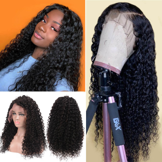 Deep Wave Silk Base Wig Pre Plucked Lace Frontal Wig With Natural Hairline For Black Women