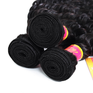 Unprocessed Virgin Deep Wave Human Hair Weave Bundles