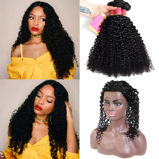 360 Lace Frontal With Kinky Curly Hair 3 Bundles Virgin Kinky Curly Wave Hair Weave