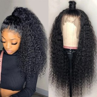 Long Natural Black Curly Hair Wig Lace Frontal Wig 100% Virgin Human Hair 150% Density Slightly Bleached Knots