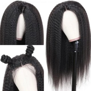 Human Hair Kinky Straight 360 Lace Frontal Wig Pre Plucked Natural Hairline 180% Density Virgin Hair Wig On Sale