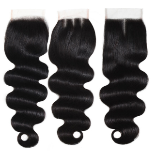 Body Wave Virgin Hair 4X4 Lace Closure Free Part Middle Part And Free Part