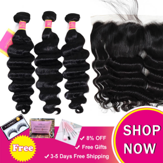 Top-Selling Virgin Hair Loose Deep Wave 3Bundles With 13x4 Ear To Ear Lace Frontal Closure