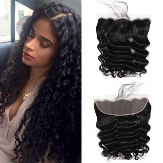 Loose Deep Wave 13x4 Lace Frontal Pre Plucked Ear To Ear Lace Closure