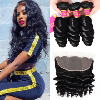 Cheap Loose Wave Virgin Hair 4 Bundles With 13X4 Lace Frontal Closure For Sale