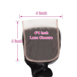 WorldNewHair Loose Wave 4x4 Lace Closure Free Part Remy Hair Natural Color