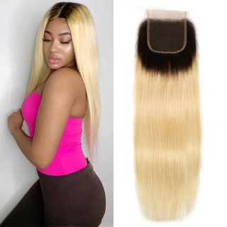 Straight Hair 1B/613 Blonde Ombre Human Hair Free Part 4*4 Lace Closures
