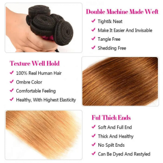 Ombre Straight Human Hair 3 Bundles Brazilian Straight Virgin Human Hair Weave