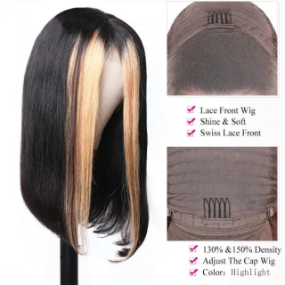Ombre Straight Human Hair Wig With Baby Hair High Density Ombre Lace Front Wigs