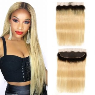 Ombre Color 1B/613 13x4 Lace Frontal Closure Straight Human Hair