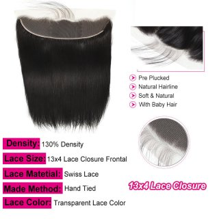 Transparent Ear To Ear 13x4 Straight Lace Closure Frontal With Baby Hair