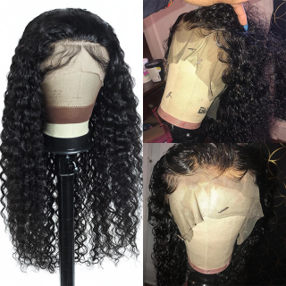 Invisible Knot Transparent Water Wave Lace Front Wig Human Hair Water Wave Hand Tied Natural Hairline Lace Frontal Wig