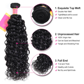 Water Wave Human Virgin Hair 4 Bundles With Lace Frontal Closure