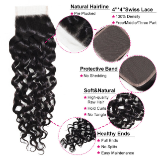 100% Human Virgin Hair 1pcs Unprocessed 4x4 Water Wave Lace Closure Free Part