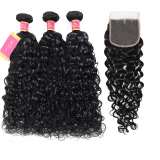 Unprocessed Virgin Water Wave 3pcs/Lost With 4x4 Lace Closure Natural Color