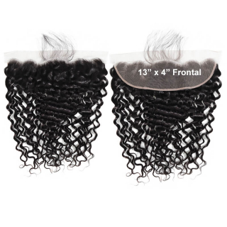 Water Wave Human Hair 13x4 Lace Frontal Closure With Baby Hair Free Part