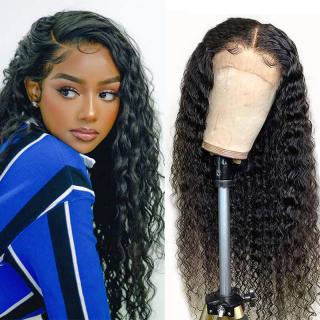 WorldNewHair lace front wig deep wave Brazilian human hair wigs 150% and 180% density transparent lace frontal wig for black women 100% human virgin hair wigs