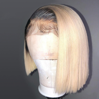 Ombre Blonde 1B/613 Short Straight Bob Lace Front Wigs 100% Human Hair Wigs With Baby Hair Pre Plucked