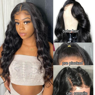 Body Wave Human Hair 13x4 Lace Front Wigs Pre Plucked Lace Frontal Wigs With Baby Hair For Black Women