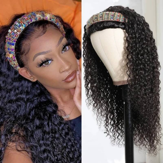 High Quality Headband Wigs Kinky Curly Human Hair Wigs 150% Density Virgin Hair Natural Black