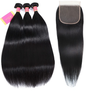 Straight Virgin Hair 3 Bundles With 6x6 Lace Closure Natural Hairline Deal Online