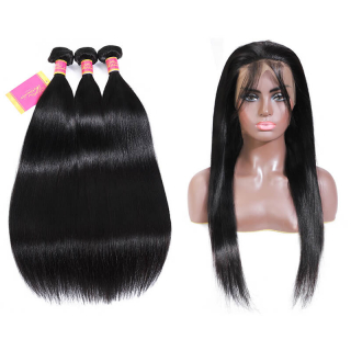 Long Straight Human Hair 3 Bundles With 360 Straight Full Lace Frontal Closure In Natural Color