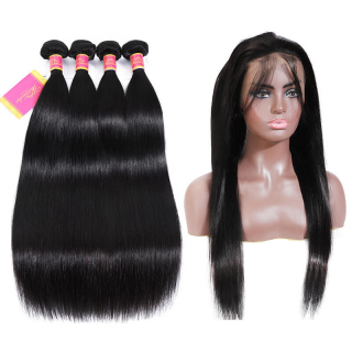 WorldNewHair Straight Human Hair 4 Bundles With Pre-plucked 360 Straight Lace Closure Frontal