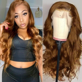 Brown Color Straight Hair Lace Wig Body Wave Human Hair Wig Natural Hairline
