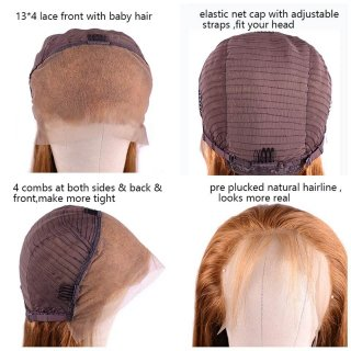 Orange Ginger Color Lace Front Wig Straight Human Hair Wigs With Baby Hair 150%-180% Density