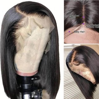 Short Straight Bob Wigs Virgin Human Hair Lace Front Wigs With Baby Hair