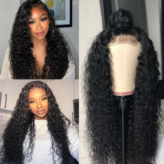 Water Wave 4x4 Lace Wigs Bleached Knots Human Hair Wig For Black Women