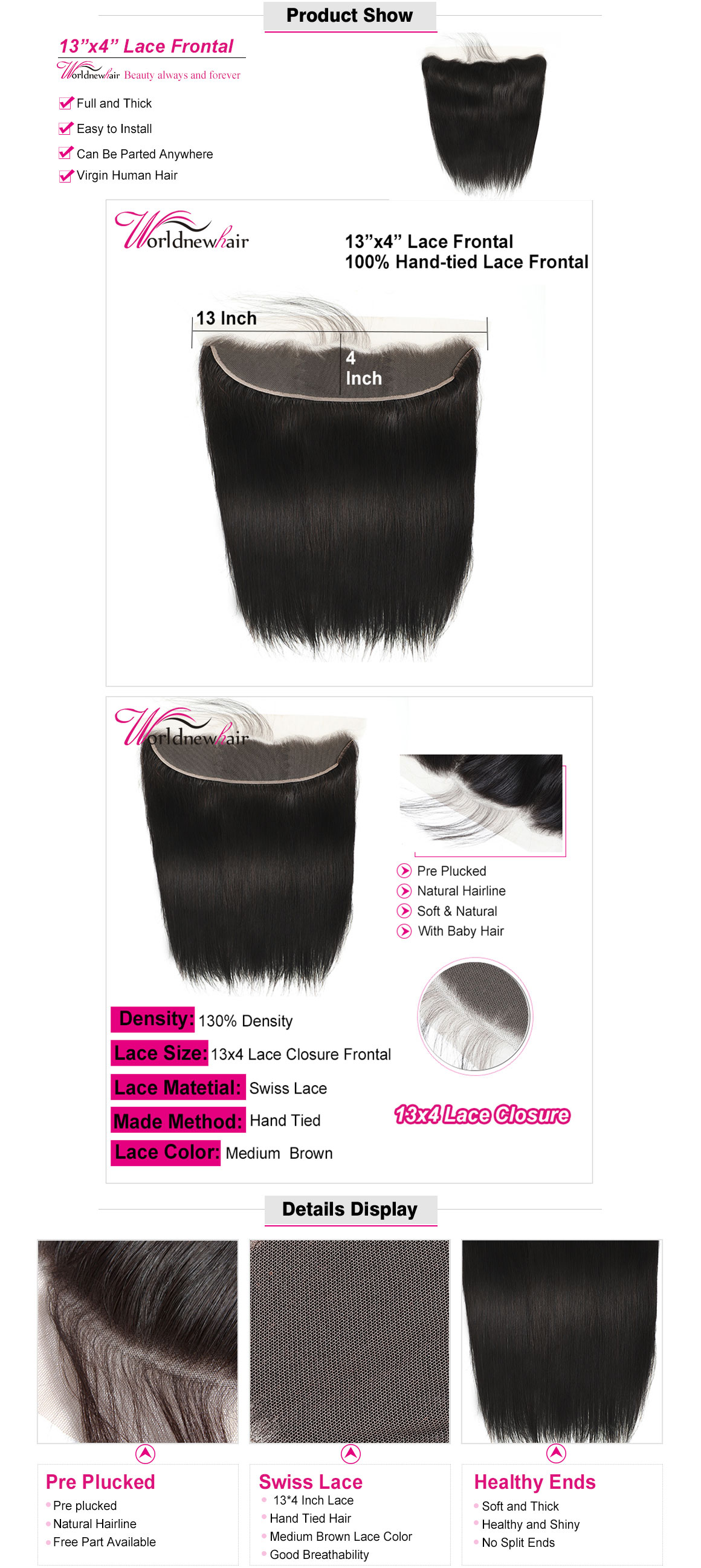 loose wave 13x4 lace frontal,brazilian straight lace closuyre,lace closure with baby hair,loose wave 4x4 lace closure