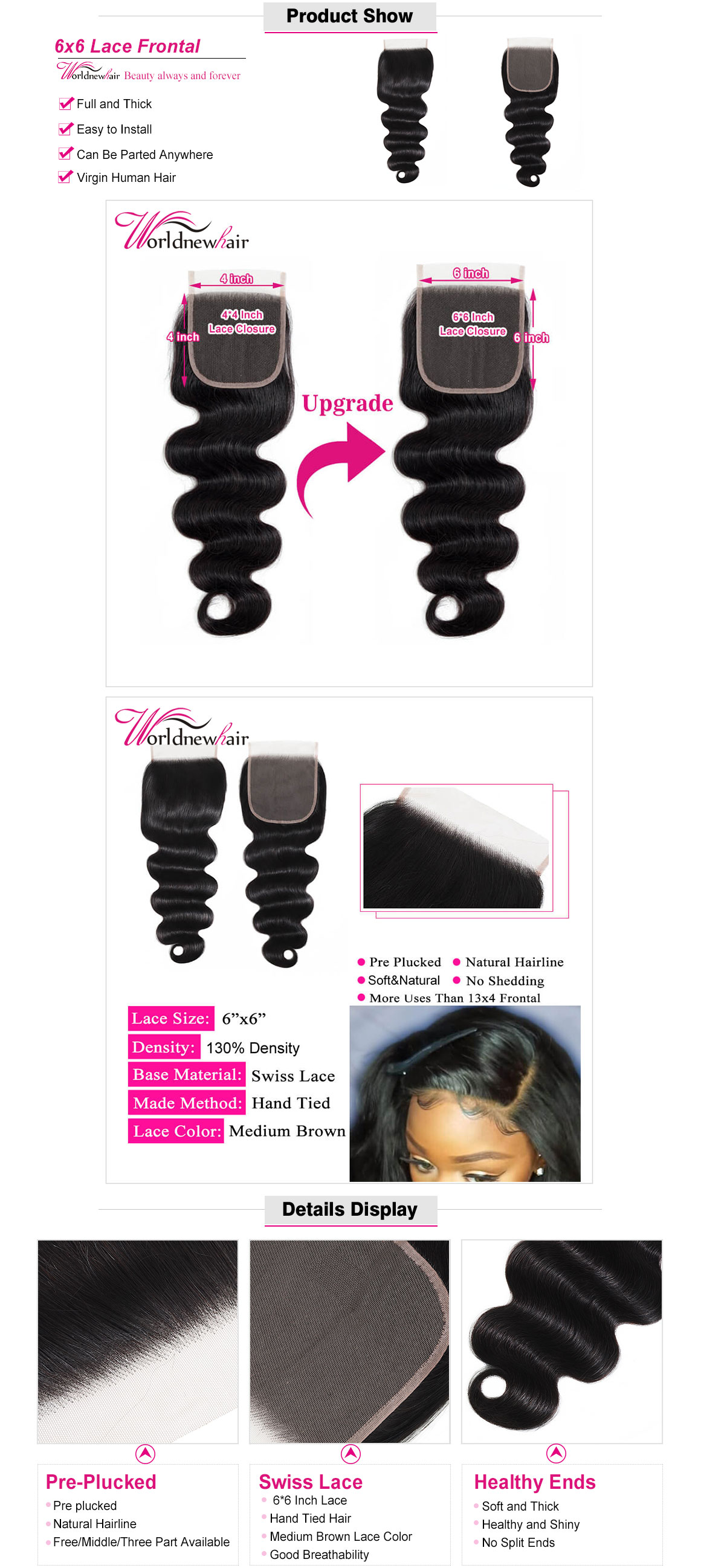 body wave Closures, Cheap Closures, Body Wave hair 6x6 Closure,
