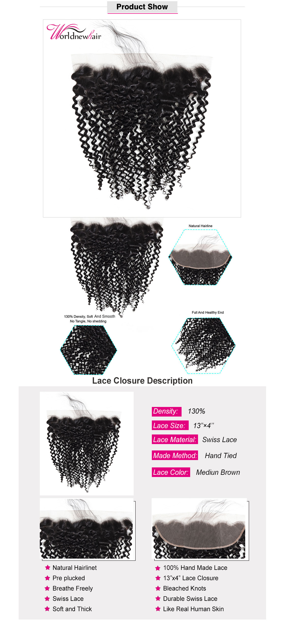 kinky curly 13x4 lace frontal,lace closure with baby hair,kinky curly 4x4 lace closure