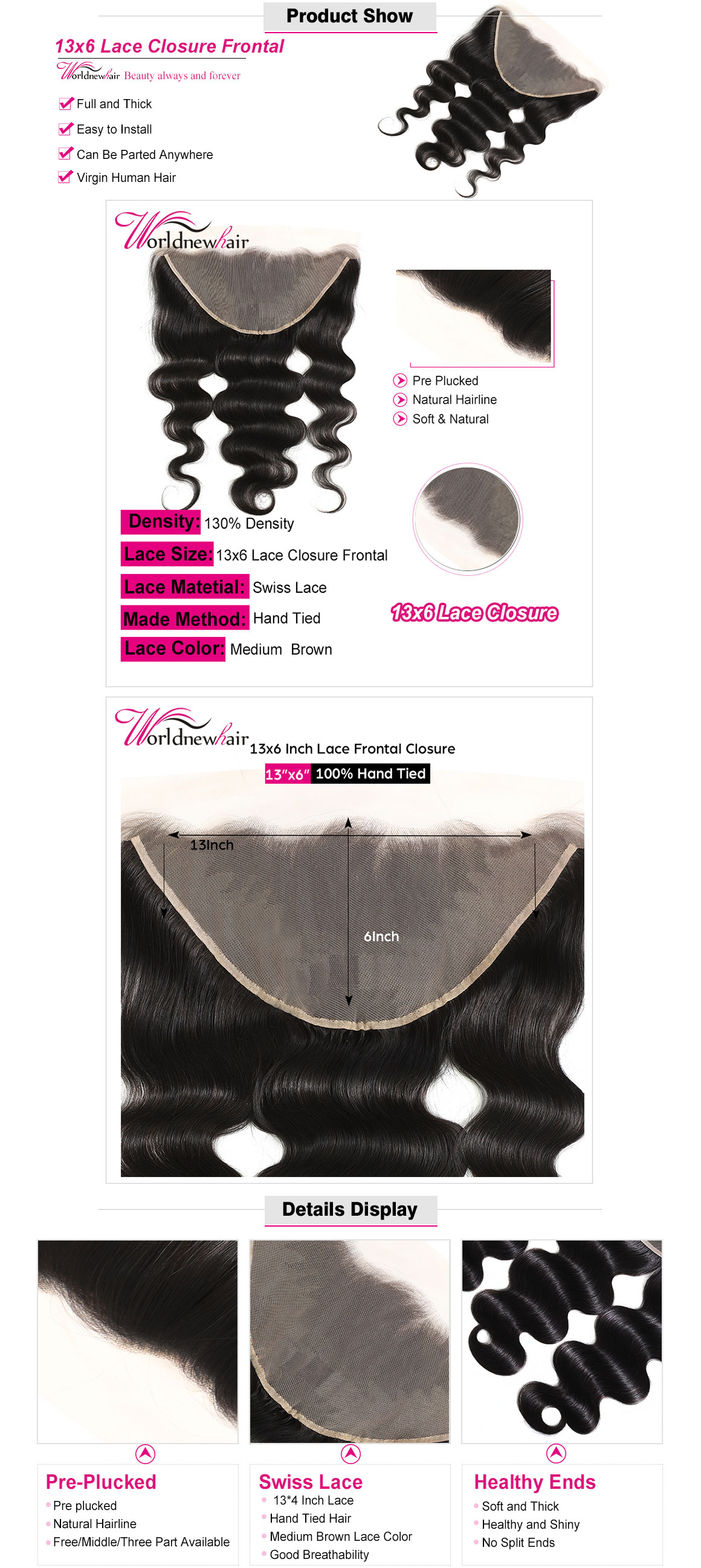 body wave 13x4 lace frontal,lace closure with baby hair,