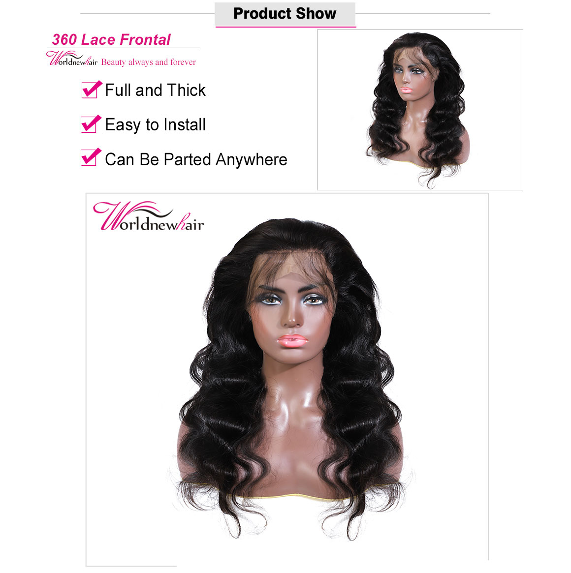 Unprocessed Human Hair Brazilian/Peruvian/Malaysian Body Wave 360Full Lace Frontal Closure